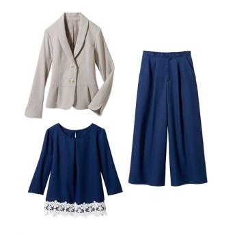 3点セット(ジャケット+ブラウス+パンツ)(プライベートレーベル) セレモニースーツ(式服・受験・七五三・発表会)women's suits, plus size women's suits, 套装, 套裝