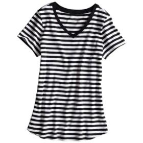UVカット綿100%フライス素材Vネック半袖Tシャツ (Tシャツ・カットソー)(レディース)T-shirts