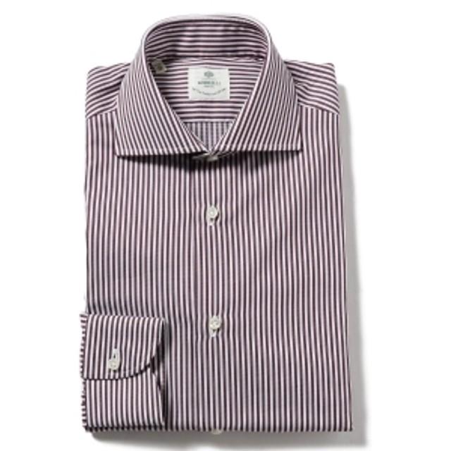 LUIGI BORRELLI / ACHILE ジャカードストライプ ワイドカラーシャツ◎ メンズ ドレスシャツ D.BROWN/41 38
