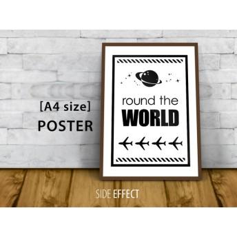 グラフィックポスター★round the WORLD★ /◆宇宙◆星◆旅◆モノトーン◆男前◆惑星◆インダストリアル