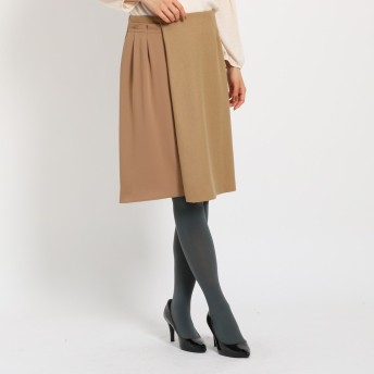 スーナウーナ SunaUna デザインミックスミディスカート (キャメル)