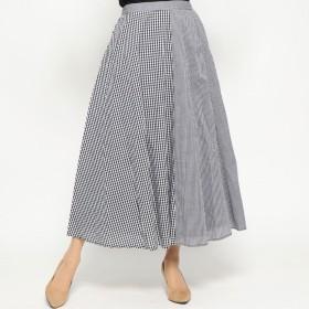 スタイルブロック STYLEBLOCK 先染めギンガムチェック切替スカート (ブラック)