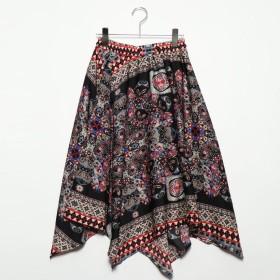 スタイルブロック STYLEBLOCK ポプリンスカーフ柄アシンメトリースカート (ブラック)