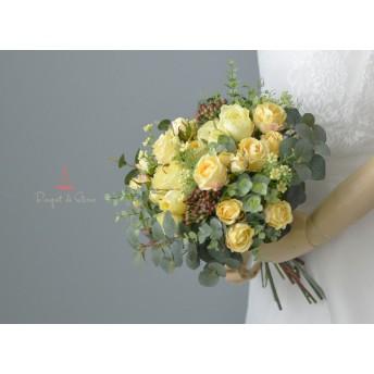 ローズとユーカリのナチュラルクラッチブーケ イエロー 造花 アーティフィシャルの ウエディングブーケ 黄色 ウェディングブーケ