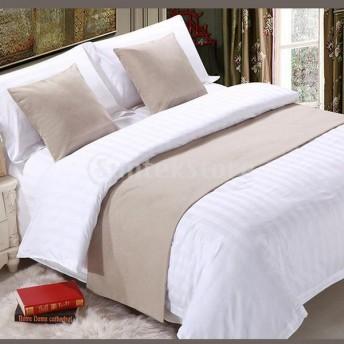 寝室のホテルの結婚式のためのリネンコットンベッドランナースカーフベージュ - 50×210 cm