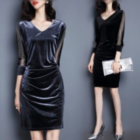 Vネック 美ラインシルエット パーティードレス 上品 ワンピース ドレス 結婚式 お呼ばれ 大きいサイズ 袖あり 光沢 ひざ上 新作 S~3XL