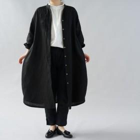 【wafu+】中厚 リネンワンピース 2way ピンタック コクーン スタンドカラー/ブラック a081k-bck2