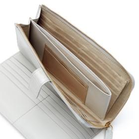 L字ファスナー クロコ型押し エナメル カードたくさん 長財布アイスグレー