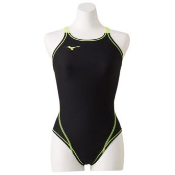 MIZUNO SHOP [ミズノ公式オンラインショップ] 競泳練習用ミディアムカット[ジュニア] 70 ブラック×セーフティーイエロー N2MA8460