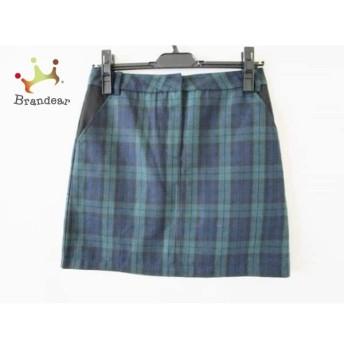 イートミー スカート サイズ3 L レディース 美品 ダークグリーン×黒×ネイビー チェック柄 スペシャル特価 20190524