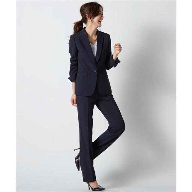 防汚加工◎すごく伸びる裏地無レギュラー丈パンツスーツ(トール丈) (大きいサイズレディース)スーツ