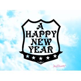 エンブレムの a happy new year スタンプ 年賀状やラッピングに☆ はんこ