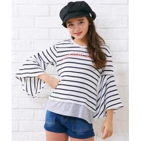 先染ボーダーラッフル袖Tシャツ(女の子 子供服。ジュニア服) Tシャツ・カットソー
