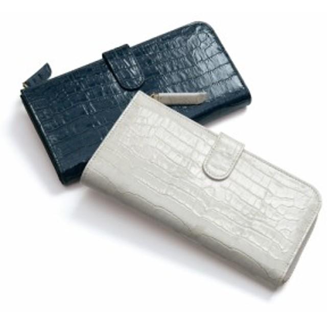 L字ファスナー クロコ型押し エナメル カードたくさん 長財布 A93903