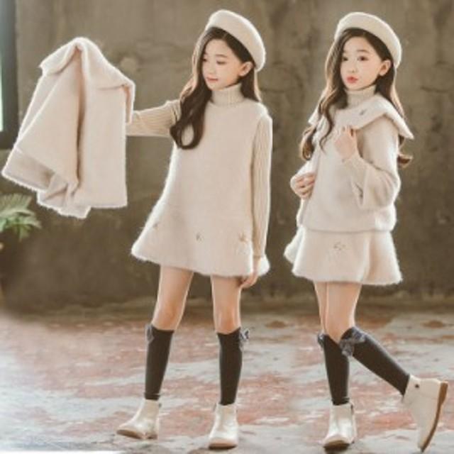 9d4ae285ca754 子供服 女の子 ダッフルコート 2点セット ショート丈 コート + 袖なし ワンピース 子ども