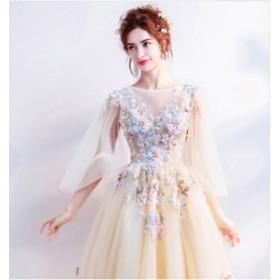 ウェディングドレス ロングドレス カラードレス二次会 花嫁 ファスナータイプ レース  パーティードレス 結婚式 二次会 big_ac