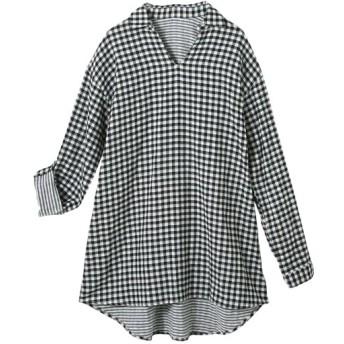 オトナスマイル モニター人気 綿100%ダブルガーゼゆるシルエットスキッパーシャツ(オトナスマイル) (大きいサイズレディース) plus size shirts