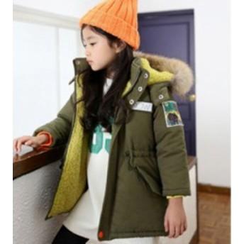 冬着 子供服 キッズ服 アウター 女の子 無地 ダウンコート ロングコート 中綿コート フード付き ジャケット キッズコート