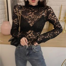Fashions←限定発売 韓国ファッション ヴィンテージ 刺繍 レースシャツ スリム 長袖 レーヨン 遠近感 ボトミングシャツ