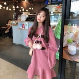 長袖 可愛い ピンク 10代20代 春秋 入園式 カジュアル 柔らかい おしゃれ ワンピース