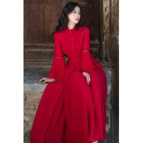 エレガントなシフォンロングワンピ♪ レディース ドレス レッド フリル袖 フリルネック フレア袖 結婚式 二次会 お呼ばれ b486