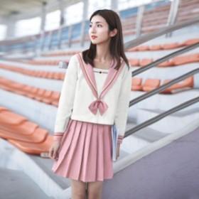 女子高校生 セーラー服 コスチューム コスプレ衣装 卒業式 通学ポロシャツ学院風ショートスカート可愛い 上下3点セット