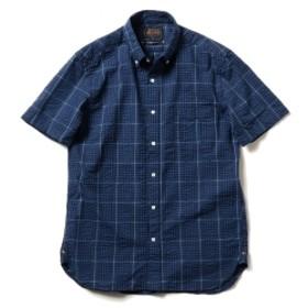 【予約】BEAMS PLUS / インディゴ サッカー チェック BD 半袖 プルオーパー メンズ カジュアルシャツ BLUE CHECK M