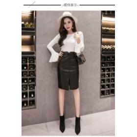 フェイクレザースカート レディースタイトスカート エナメル 膝丈 プチプラ通販 韓国系 黒ブラック シック モード 秋冬 b806