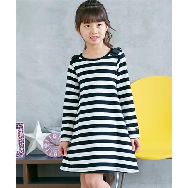 肩リボン付ボーダーワンピース(女の子 子供服。ジュニア服) ワンピース