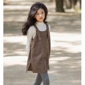 ワンピース 子供服 秋 女の子 可愛いスタイル チェック柄 吊りスカート キャミワンピース ジュニア お嬢様風