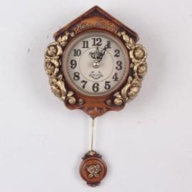 《素敵なインテリア》ティーニーローズ壁掛け振り子時計-ブラウン