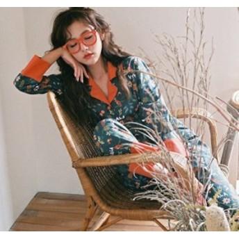 ルームウェア カラー 花柄 パジャマ レディース 長袖 上下セット ナイトウェア 部屋着女性 秋冬 0812
