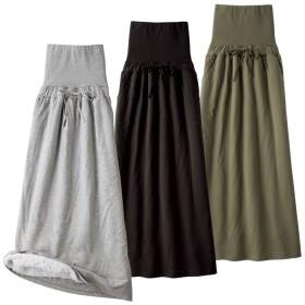 ベルーナ 【3色組】おなか周りもあたたかい裏ボアロングスカート カーキ/ブラック/グレー LL レディース
