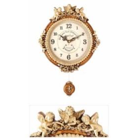 《素敵なインテリア》ゴールデンエンジェルラウンド振り子時計B/電波時計