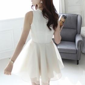 【Lサイズ/ホワイト】ワンピース ドレス ノースリーブ レース 刺繍 ひざ丈 結婚式 エレガント セレブ お呼ばれ フォーマル