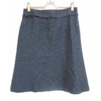 ニジュウサンク 23区 スカート サイズ38 M レディース 美品 ダークネイビー×ゴールド ラメ/ツイード【中古】