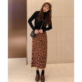 韓国ファッション CHIC気質 レトロ レオパード ニット スカート