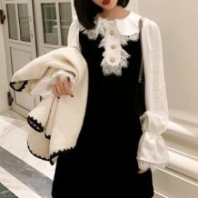 【f0831】レディース ファッション 長袖 ワンピース ミディアム丈 かわいい デート お出かけ レース ブラック