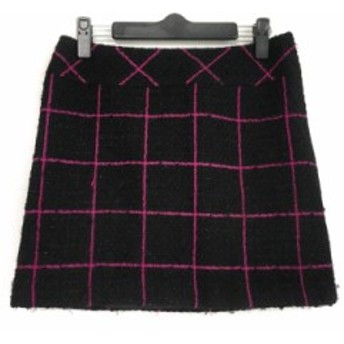 ピンキー&ダイアン Pinky&Dianne ミニスカート サイズ36 S レディース 黒×ピンク ツイード/ラメ【中古】