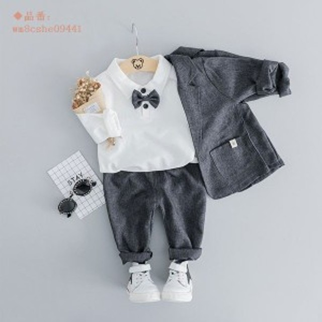 b182ce2d03f31 子供服 フォーマル 男の子 フォーマルスーツ 子供スーツ 赤ちゃん 上下セット 3点セット 73 チェック