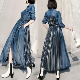冬新作 韓国 ワンピース ロング デニム 大きいサイズ シャツ 七分袖 レディース 大きめサイズ 小さいサイズ XS 着痩せ ヴィンテージ N0035