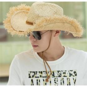 メンズ帽子 UVカット 紫外線対策 レジャー つば広 麦わら ハイセンス 日よけ ファッション アウトドア 着心地いい セール 夏 メンズ帽子