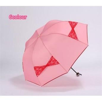 傘 レディース ファッション リボン レース 超軽量 三折りたたみ傘 遮光 防風 レディース 日傘 雨傘 黒膠 日焼け防止 UVカット