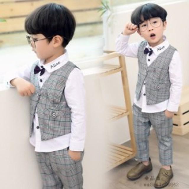 f9d4352a2e776 子供服 卒業式 スーツ チェック 80 かっこいい シャツ 男の子 子供服 ズボン 秋着 3