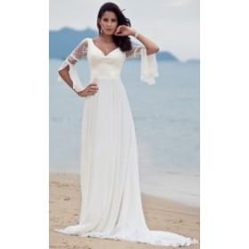 Vネックロングデザインドレス  シースルースリーブ  ゴージャスデザイン 結婚式 パーティー 20代 30代 40代  二次会