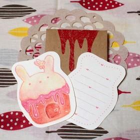 カップケーキのメッセージカードうさぎ
