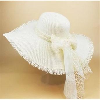 レディース帽子 UVカット 紫外線対策 シンプル ファッション 日よけ つば広 無地 リボン アウトドア かわいい ソフトレディース帽子
