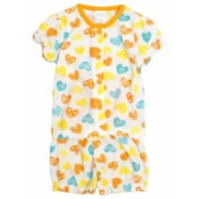 パジャマ ベビー 赤ちゃん 女の子 ハート柄 腹巻付き 丸首 前開き 半袖 パジャマ 寝巻き 子供パ