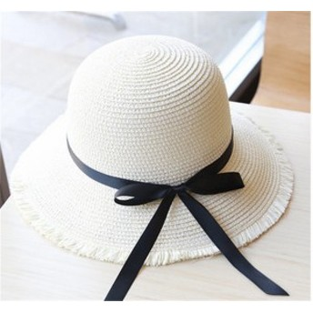 レディース帽子 UVカット 紫外線対策 シンプル ファッション 日よけ つば広 リボン 麦わら アウトドア かわいい ソフトレディース帽子