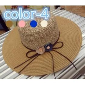 レディース帽子 花つき 麦わら シンプル UVカット 紫外線対策 日よけ ファッション ハイセンス アウトドア 着心地いい 夏 レディース帽子